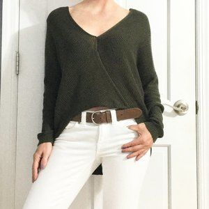 Soho | olive green domain crop front sweater